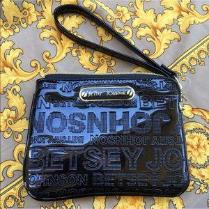 Betsey Johnson black wristlet bag pouch patent